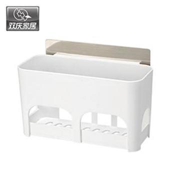 双庆 多功能沥水收纳架5049吸盘无痕贴厨房调料架收纳架浴室卫生间置物架