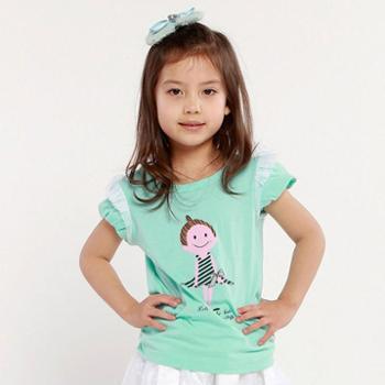帕菲儿童装 夏装2014新款韩版女 中大童蕾丝印花纯棉女童短袖T恤