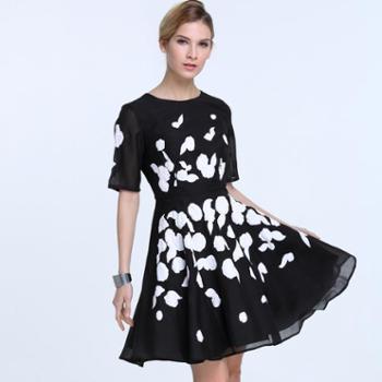 拉夏贝尔女款白色泡沫印花连衣裙夏季修身裙子GF12120001
