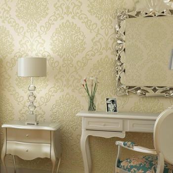 经典奢华欧式大马士革无纺布大花型墙纸卧室
