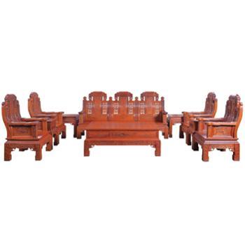 滑氏红木大果紫檀福禄寿沙发十件套