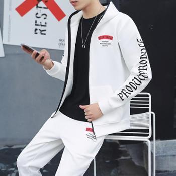 【御旗】卫衣套装男秋季连帽新款韩版潮流学生运动外套男士帅气两件套