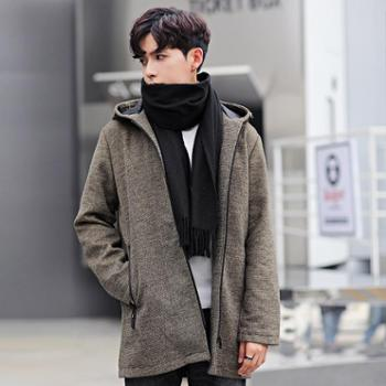 【御旗】秋冬季男士毛呢大衣中长款青少年连帽外套男装韩版帅气呢子风衣潮流修身衣服男外套