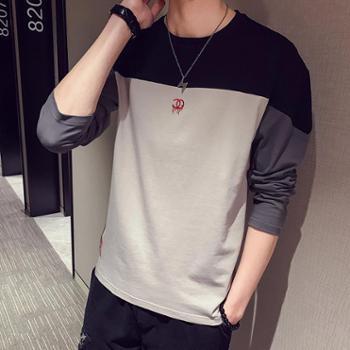 【御旗】春秋季男士长袖T恤2019新款韩版潮流百搭时尚修身上衣服男打底衫