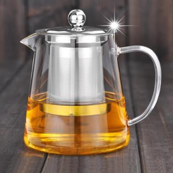 清彩1300毫升玻璃茶壶加厚玻璃配304不锈钢过滤网