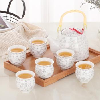 清彩景德镇7头提梁壶家用茶具套装送茶盘