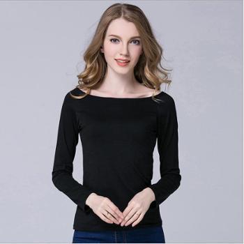 春夏新款女装时尚百搭一字领长袖t恤纯色套头莫代尔棉修身T恤