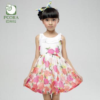 PCORa巴柯拉 女童夏装新款印花灯笼甜美背心裙