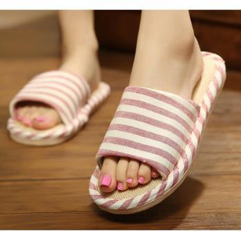 居家亚麻拖鞋春夏季韩版加厚底防滑棉麻拖鞋情侣时尚室内家居拖鞋