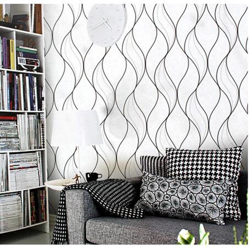 曲線條紋壁紙簡約現代客廳臥室電視背景墻紙