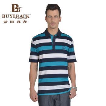 法国拜邦 男士商务休闲时尚横条双丝光长绒棉短袖TB7W-226