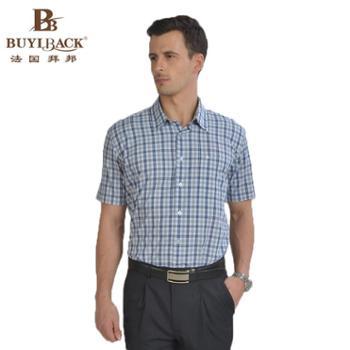 法国拜邦 时尚都市尖领格子短袖休闲衬衫EB4W-358