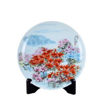 瓷博景德镇陶瓷盘装饰盘子摆件井冈山杜鹃花特色古朴家居艺术品