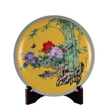 瓷博 景德镇陶瓷盘子富贵平安现代中式工艺品家居装饰盘客厅办公桌摆件