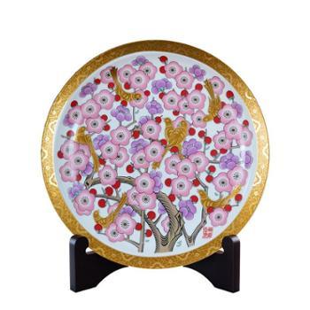 瓷博景德镇陶瓷盘子装饰瓷盘摆件美式描金边喜鹊工艺品喜上梅梢