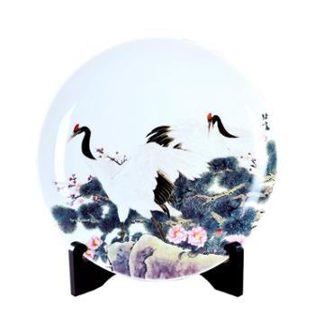瓷博景德镇陶瓷双鹤迎春坐盘摆件工艺品