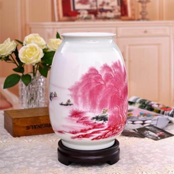 瓷博 景德镇瓷器花瓶摆件装饰工艺品 江南水乡山水红瓷瓶家居客厅摆设