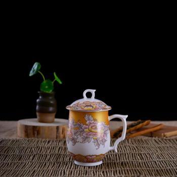 瓷博景德镇陶瓷骨瓷杯瑞祥单层茶杯带盖有手柄高档锦盒装送礼