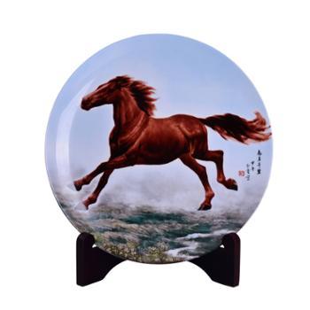 瓷博 景德镇陶瓷装饰瓷盘摆件工艺品 志在千里马到成功谢本贵大师创作