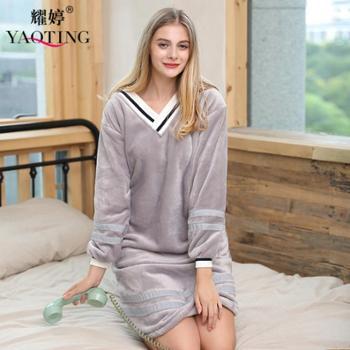 耀婷 新款女士法兰绒睡衣 女士秋季长袖珊瑚绒家居睡裙
