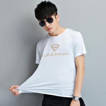 诗班雅 夏季男士短袖t恤 韩版字母印花修身圆领半袖T恤 1631-5