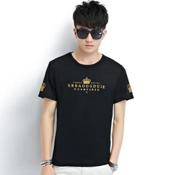 诗班雅 年夏季短袖T恤韩版潮流男士印花圆领上衣青年时尚透气打底衫