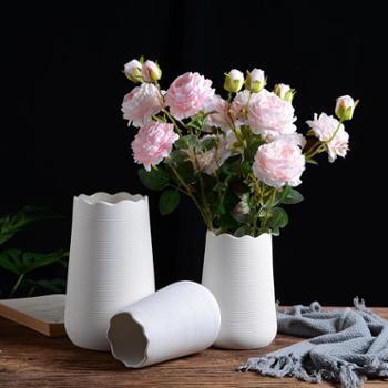 北欧素烧拉丝陶瓷花瓶均纹波浪口 小号 简约日系插干花器客厅装饰