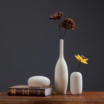 北欧素烧拉丝白色陶瓷花瓶 简约日系插干花花器客厅家具软装饰品摆件