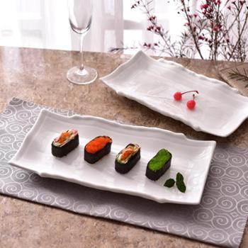 【寿司盘】长方竹船盘西餐盘酒店纯白餐具陶瓷日式寿司盘子小吃点心平盘