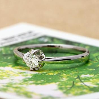 18K白金钻石戒指 花型绽放求婚克拉钻戒订婚结婚礼物饰品配证书