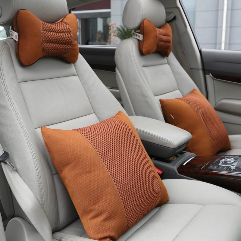 欧美佳汽车头枕腰靠套装四件套车用抱枕汽车头枕颈枕靠垫按摩腰靠高清图片