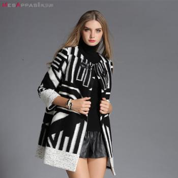 美莎帕(MesAppas)2015秋新款时尚印花毛呢圆领直筒中长款外套大衣