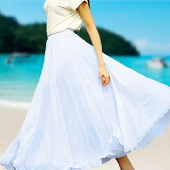 百褶大摆包臀包裙拖地雪纺仙女半身裙子波西米亚半身长裙夏