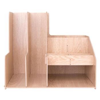 deli得力文件框79250创意木质收纳盒组合多功能文件栏文件座