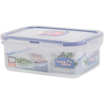 乐扣乐扣塑料保鲜盒1只装带分隔长方形饭盒便当盒家用透明碗打包盒微波加热炉