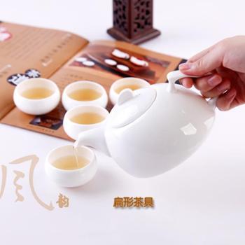 艾米丽骨瓷纯白无铅茶具套装 创意7头扁形茶壶配6茶杯 送茶巾特价包邮