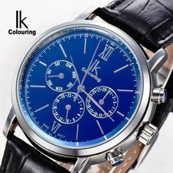 IK阿帕琦全自动机械表幻彩多功能商务男士皮带手表男表98528G