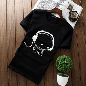 梦化蝶简男系列春夏男短袖T恤棉圆领修身印花半袖男士T恤JN-小孩耳机