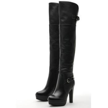 莫蕾蔻蕾冬季欧美修身拉链防滑保暖细高跟长靴A921