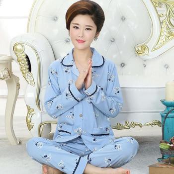 娜新元秋季女士长袖睡衣套装纯棉宽松加大码睡衣家居服两件套装