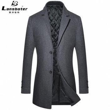 莱诗伯特秋冬新款毛呢大衣男中长款韩版修身青年呢大衣男外套1713