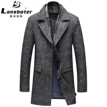 莱诗伯特毛呢大衣中长款休闲加厚羊毛呢外套男式大衣910