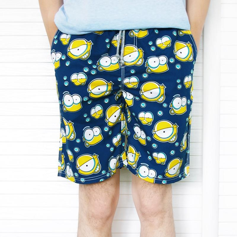 夏季速干宽松大码卡通沙滩裤 大裤衩五分裤中裤 潮男花短裤