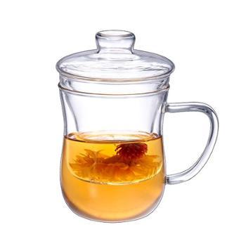 邦田 G551三件杯 加厚耐热玻璃茶杯 花茶杯 茶水分离 泡茶杯 茶杯