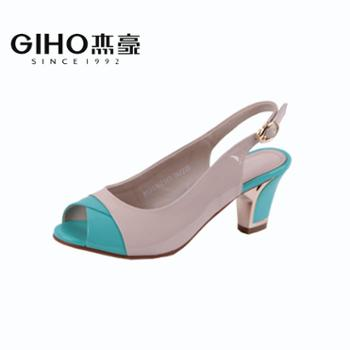杰豪2014年新款女士中跟鞋舒适鱼嘴鞋拼色甜美后空女凉鞋