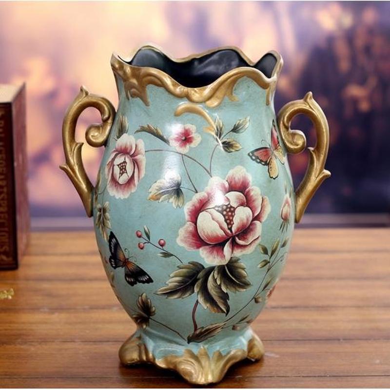 美屋家居 欧式复古奢华陶瓷花瓶花器家居装饰品客厅工艺品摆件
