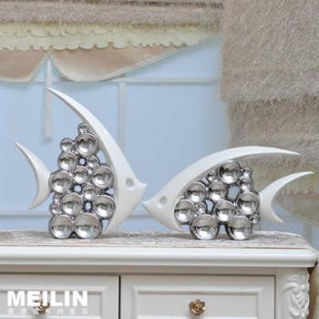 电镀银陶瓷摆件 欧现代简约客厅摆设 泡泡情侣亲嘴鱼大号