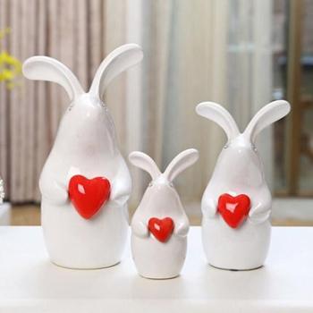 贝汉美 创意工艺礼品结婚礼物家居装饰摆件 陶瓷动物白色心形兔子摆设品