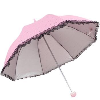 天堂伞 高密聚酯银胶丝印拼黑色蕾丝边三折蘑菇晴雨伞太阳伞 36038E