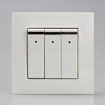 ABB三位双控带装饰线带灯开关10AXEWA由艺Uni-art系列